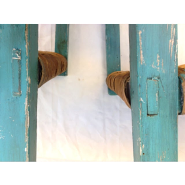 Handmade Teal & Rush Seat Mexican Chairs - A Pair - Image 3 of 3