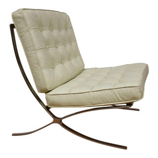 Barcelona Chrome a& White Leather Lounge Chair