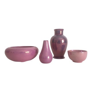 1920's Art Deco Pink Lusterware Porcelain Pottery - Set of 4