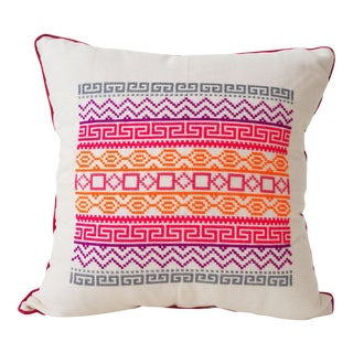 Mexican Pink Crossed Stitched Folk Pillow Case