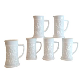 White Milk Glass Beer Mugs - Set of 6