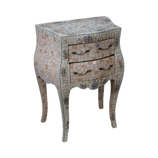 Tile Mosaic Louis XV Style Small Bombe Accent Chest Commode