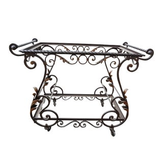 Vintage French Wrought Iron & Glass Shelves Cart