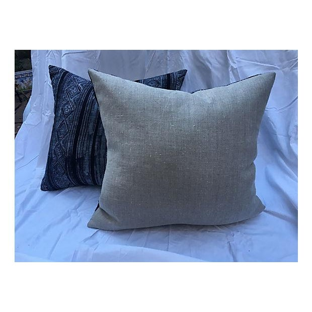 Image of Indigo Linen Batik Pillows - A Pair