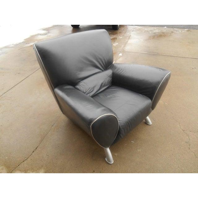 Italian Designer Contemporary Black Leather Chair - Image 5 of 5