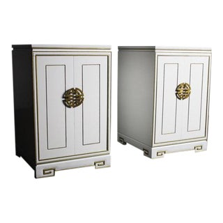 White Regency End Tables/Cabinets With Stunning Gold Trim Detailing - Pair