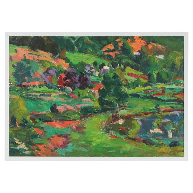 Image of Lush Springtime Landscape Painting