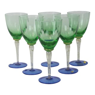 Venetian Glass Wine Goblets - Set of 6