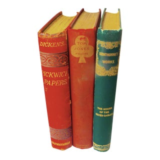 Three Antique Classic 19th Century Books - Dickens, Fielding, Hawthorne