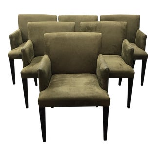 Room & Board Moss Green Suede Marie Chairs - Set of Six