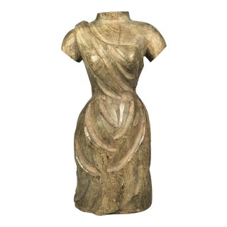 Vintage Carved Wood Dress Form