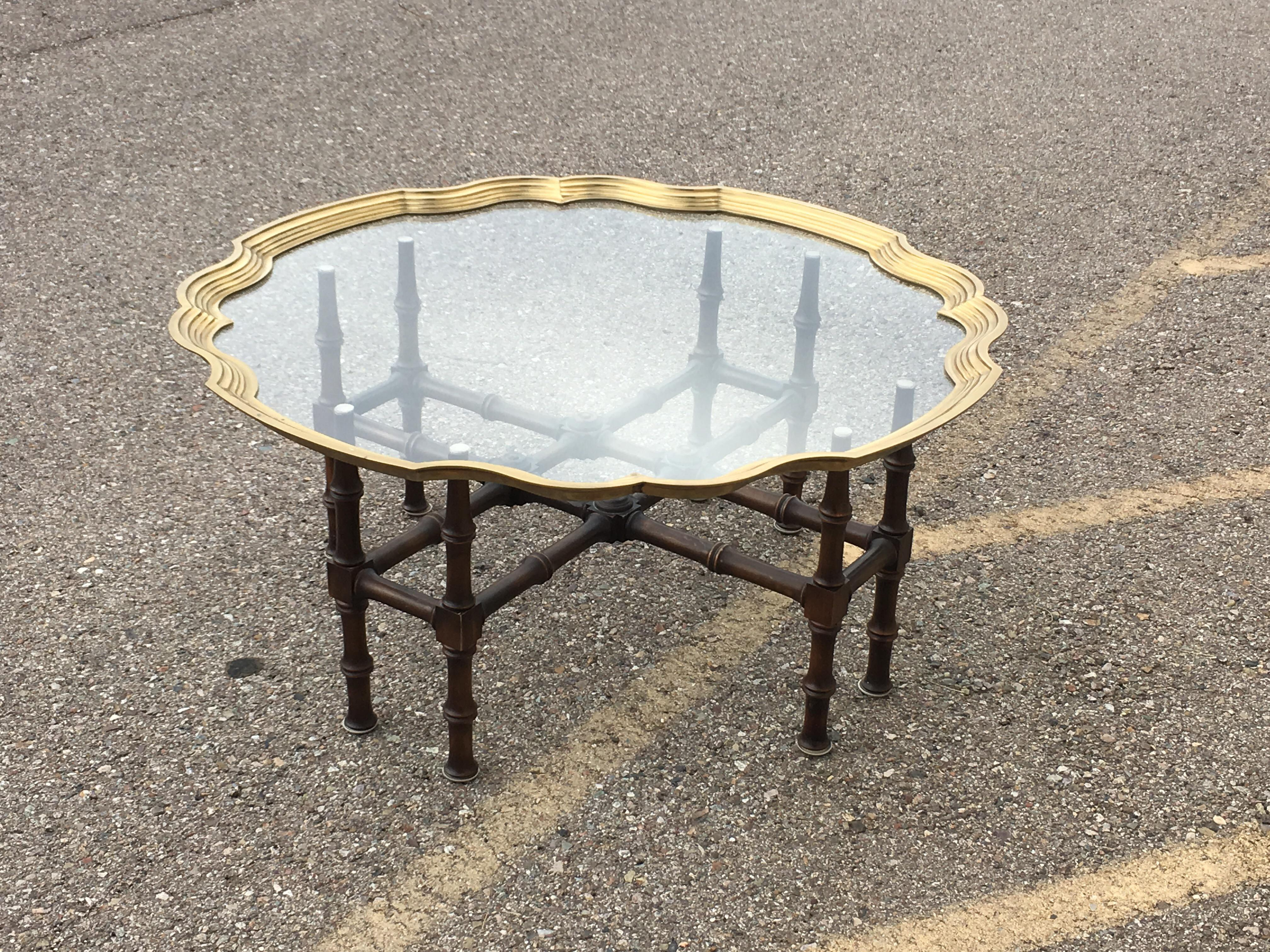 baker faux bamboo with brass framed glass top coffee table | chairish