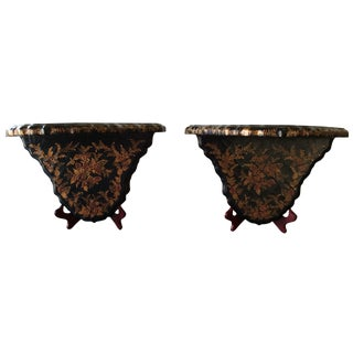 Black Chinoiserie Brackets - A Pair
