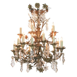 19th c. French Bronze Flower Chandelier