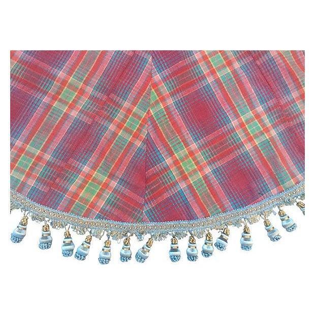 Handwoven Vintage Madras Christmas Tree Skirt - Image 4 of 6