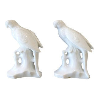 Palm Beach Regency Maitland Smith White Porcelain Parrot Bird Figurines- a Pair