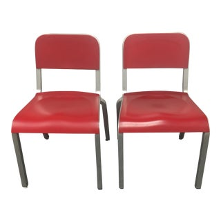 1951 Design Within Reach Emeco Red Chairs - A Pair