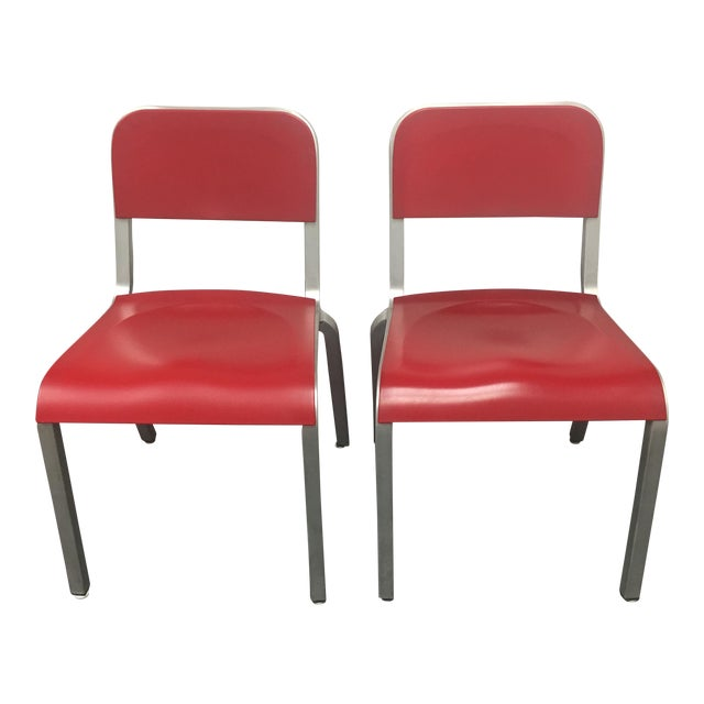 Image of 1951 Design Within Reach Emeco Red Chairs - A Pair