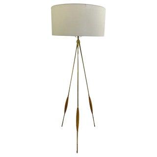 Mid-Century Brass & Wood Tripod Floor Lamp