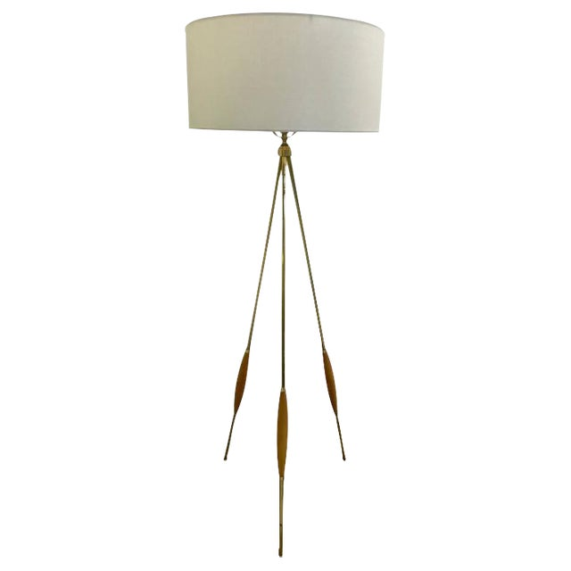 Mid-Century Brass & Wood Tripod Floor Lamp