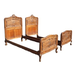 Antique Twin French Carved Bedframes - a Pair of Twin Headboards