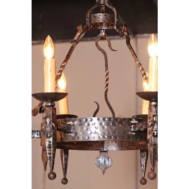 Early 20th Century French Wrought Iron Six-Light Chandelier - Image 7 of 10