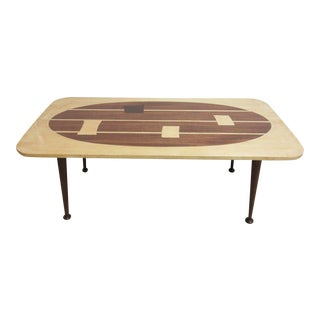 Custom Mahogany Inlaid Mid-Century Danish Space Age Coffee Table