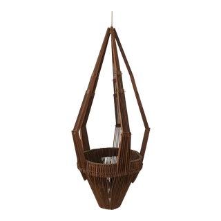 Mid-Century Collapsible Teak Hanging Planter