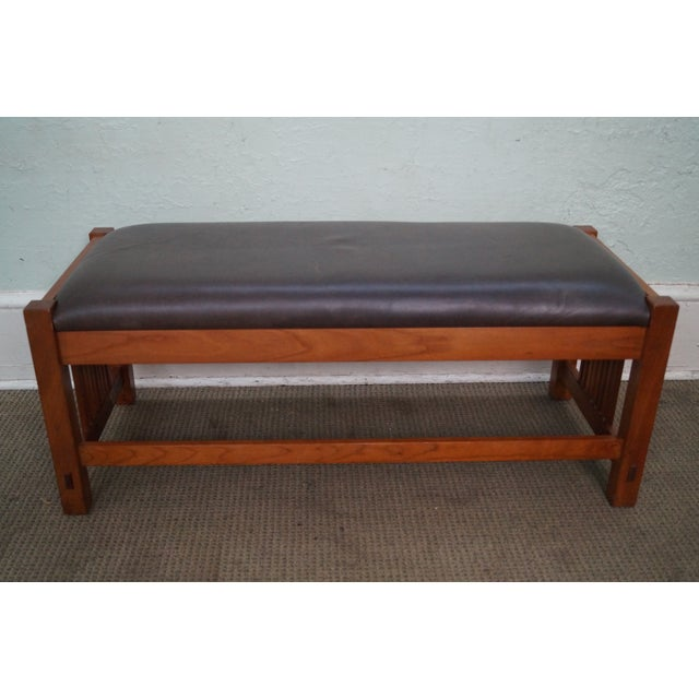 Stickley Cherry Leather Mission Style Window Bench Chairish