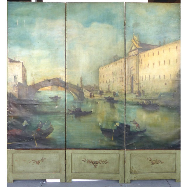 19th-C. Venetian Oil on Canvas Screen - Image 3 of 11