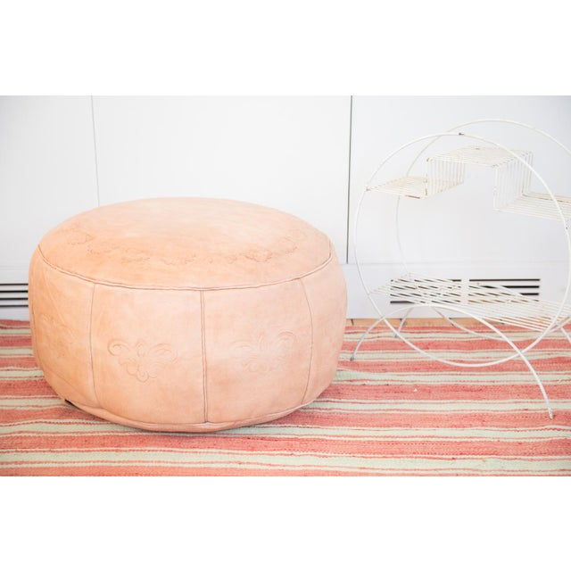 Antique Revival Leather Moroccan Pouf Ottoman Nude Chairish