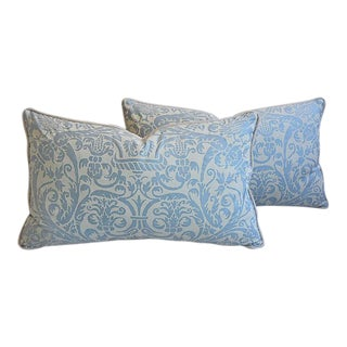 """26"""" x 16"""" Custom Tailored Italian Fortuny Uccelli Feather/Down Pillows - Pair"""