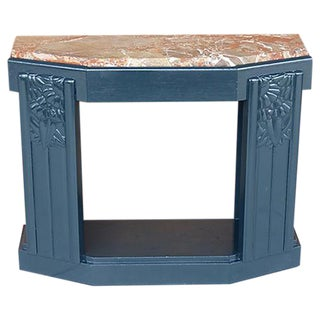Art Deco Painted Wood Console with Marble Top
