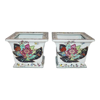 Tobacco Leaf Square Cachepots- A Pair