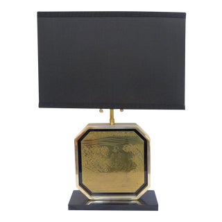 Etched Brass Table Lamp by George Mathias