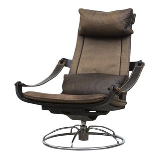 Bruno Mathsson Style Leather Lounge Chair