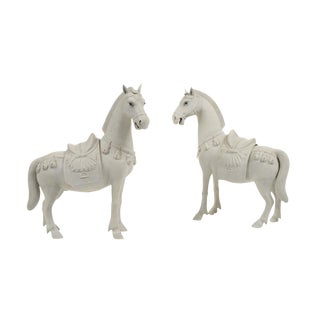 Rare Chinese Bisque Porcelain Horse Figurines - 2