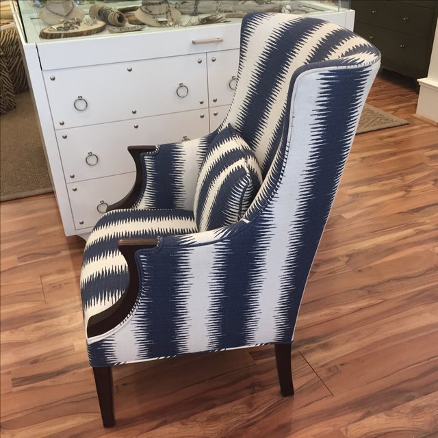 Navy & White Wing Chairs - A Pair - Image 3 of 7