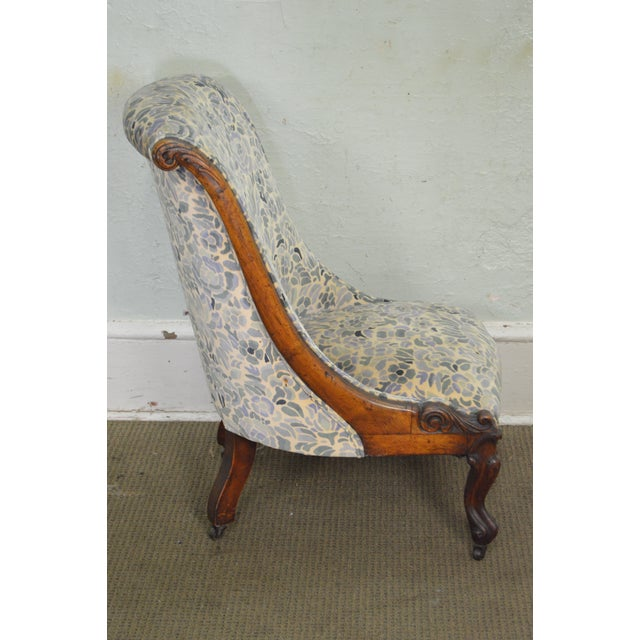 Antique Victorian Walnut Frame Slipper Chair - Image 3 of 11
