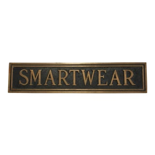 "Vintage Brass Department Store Sign, ""Smartwear"""