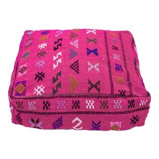 Pink Moroccan Wool Pouf