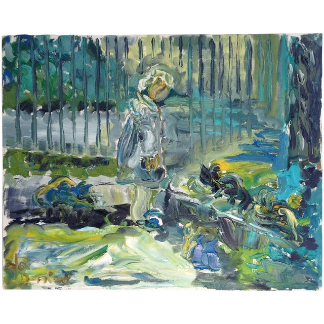 Green & Blue Modern Abstract Impasto Painting - Image 1 of 3