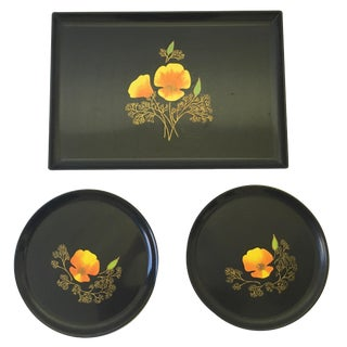 Couroc Mid Century Inlaid Poppy Trays - Set of 3