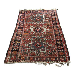 Vintage Persian Hand-Knotted Rug - 1′10″ × 1′10″