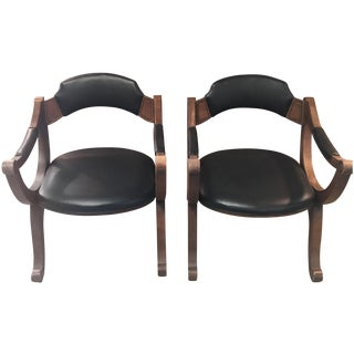 "Mid-Century ""Empire"" Leather & Wood Chairs - Pair"