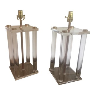Mid-Century Lucite & Brass Lamps - A Pair