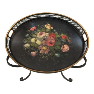 French Toleware Tray on Custom Iron Base