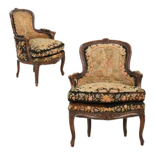 French Louis XV Carved Fruitwood Bergeres - A Pair