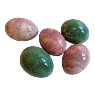 Vintage Pink & Green Alabaster Eggs - Set of 5