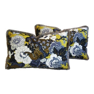 Shanghai Peacock & Floral Pillows - A Pair